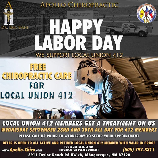 Free chiropractic care September 23 and 30 for all past and present members of Local Union 412