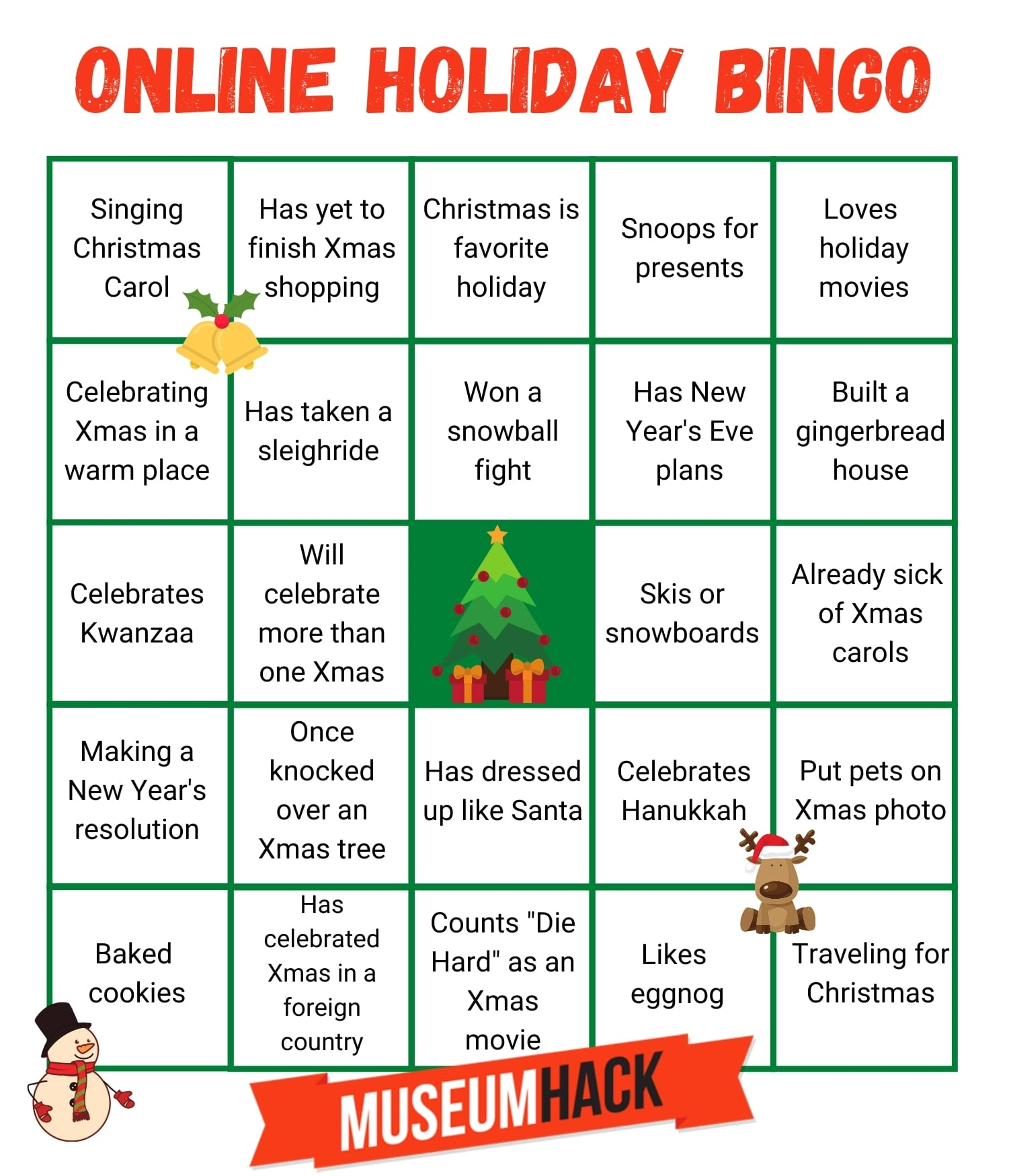 Illustration showing an online holiday bingo board